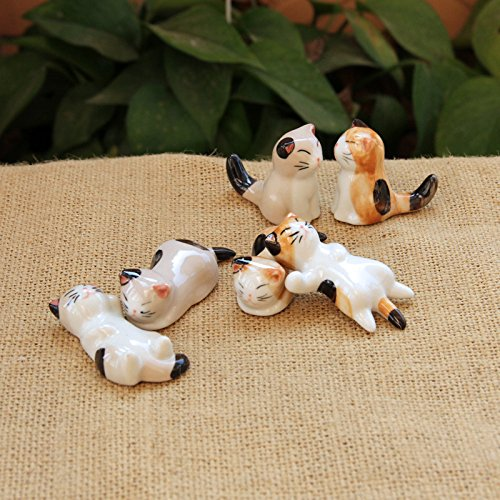 Cute Hand-Made 6Pcs Chinese Ceramic Cat Pattern Chopstick Rest Spoon Fork Knife Holder