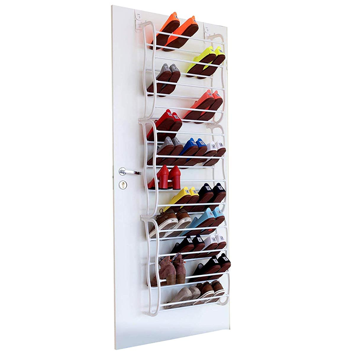 Fancy Buying 36-Pair Shoes Over The Door Rack- Fold Up Non Slip Bars Shoe Rack Multifunction Combination- White