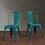 Replica Tolix Metal Chairs set of 2 IN SEA BLUE FINISH