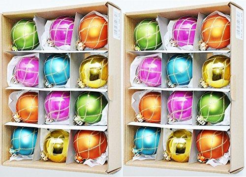 24-RDENTALER-GLAS-CHRISTBAUMKUGELN-6cm-BUNT-GLITZER-MATT-GLANZ-WEIHNACHTSKUGELN