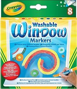 Crayola 58-8165 - 8 auswaschbare Fensterfilzstifte, kombinierbar mit Marker Airbrush