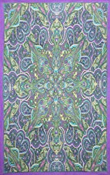 Sunshine Joy 3D Kaleidoscope Paisley Tapestry Tablecloth Beach Sheet 60x90 Inches - Purple/Blue/Green