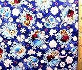 <Qキャラクター・キルティング生地>アナと雪の女王(紺)#8
