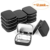 Aybloom Metal Hinged Lid Tin Containers - 12 Pack Metal Tin Box Mini Portable Box Containers Small Storage Kit for Drawing Pin Nail Art Bead Earring and Jewelry Craft Organizing (12 Pack, Black) (Color: Black, Tamaño: 12 Pack)