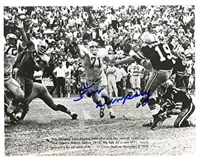 Tom Dempsey (Set NFL Record) Autographed/ Original Signed 8x10 Action-photo Showing Him Kicking a 63 Yard Field Goal in 1970 for the New Orlean Saints to Set a New NFL Record