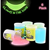 Glow in The Dark Slime - 6 Pack - Assorted Neon Colors- Great Toy for Any Child Favor, Gift, Birthday- by Kidsco