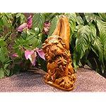"""GARGOYLE Winged Lion 15"""" BURNT ORANGE STAIN Cast Cement Statue Outdoor GARDEN"""