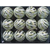 Queens Of Christmas WL-ORN-12PK-CL-GSW 12 Pack Ball Ornament With Gold, Silver And White Swirls Design, Clear