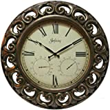 Infinity Instruments Versaille 19-1/2-Inch Resin Outdoor Wall Clock