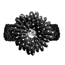 Black Polka Dot Gerbera Daisy Flower Black Crochet Headband Gerber - girls child baby toddler apparel head hair band bow bows girl soft infant youth accessory