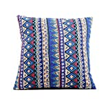 Riverbyland Linen Decorative Throw Pillows Cover Blue Pattern Printed 17
