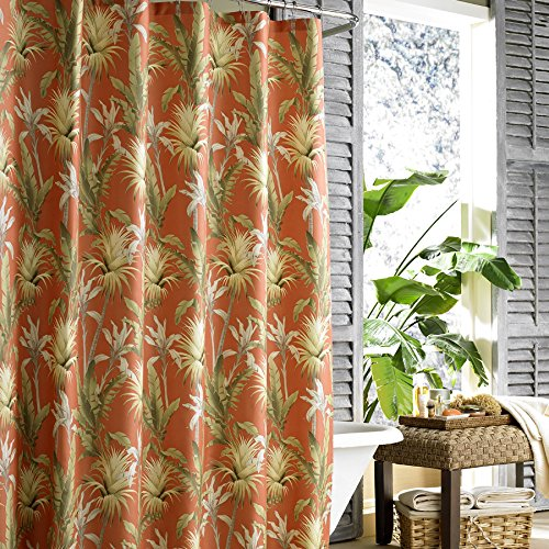 Tommy Bahama Catalina Tropical Fabric Shower Curtain Tangerine