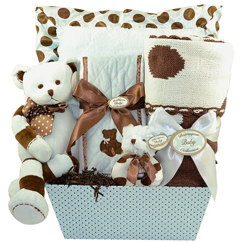 Boy'S Posh Dots Deluxe Baby Gift Basket Blue
