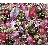 Approx 400 x Rose Garden Pink Jewellery Making Starter Beads Mix Set