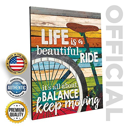 'Life Is A Beautiful Ride' Bicycle Wall Art by Marla Rae 12 x 16 Made in USA (Life Is Good Poster compare prices)