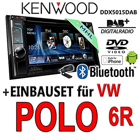 VW polo 6R-kenwood dDX5015DAB 2-dIN multimédia uSB mHL kit de montage d'autoradio dAB