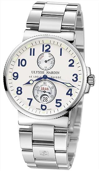 New Mens Ulysse Nardin Maxi Marine Chronometer Silver Dial Watch 263-66-7