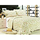 """All for You 3-piece Reversible Bedspread/ Coverlet / Quilt Set-orange, pink, purple, blue flowers and sage green leaves prints (King-90""""x 100"""")"""
