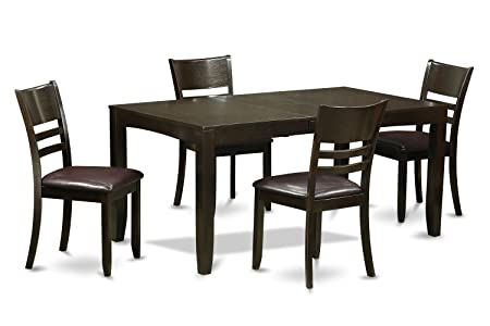 East West Furniture LYFD5-CAP-LC 5-Piece Dining Table Set, Cappuccino Finish