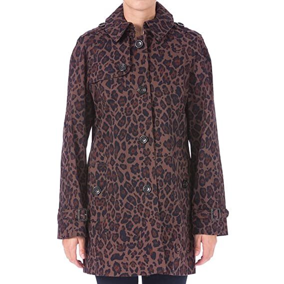 London Fog Womens Marion Leopard Print Water Resistant Trench Coat