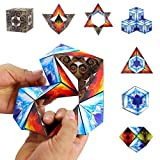 Euclidean Cube Magnetic Cube Geometric Cubes Building Blocks Cube Magnetic Infinity Stacking Cubes STEM Toys Transforming Magic Cube Educational Building Toys Set for Kids and Adults (Pack of 4)