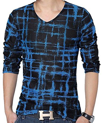 QZUnique Men's Plus Modern V-Neck Long Sleeve T-shirt Blue US Medium (Men Plus Pants compare prices)