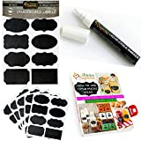 Complete Bundle of 40 Unique Chalkboard Labels with Liquid Chalk Marker - Premium Stickers for Jars