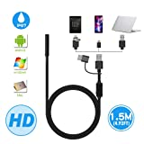 Endoscope, Ihong Android OTG 1.5M Waterproof Snake HD Video Borescope Soft Wire with USB Type-C 6 Led Lights Security Cable Compatible with Samsung Galaxy/Sony/Nexus Android Smartphone Computer