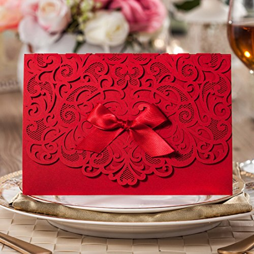 Wishmade 100x Elegant Red Laser Cut Wedding Invitation Cards Kits with Lace Bow Paper Cardstock for Bridal Shower Engagement Birthday Baby Shower Quinceanera(set of 100pcs) 0