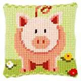 Vervaco Little Piggy Cross Stitch Cushion Multi Colour