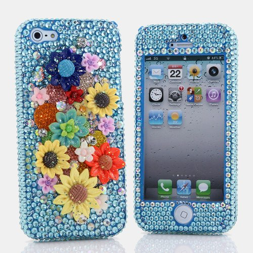 Best Price BlingAngels® 3D Luxury Bling iphone 5 5s Case Cover Faceplate Swarovski Crystals Diamond Sparkle bedazzled jeweled Design Front & Back Snap-on Hard Case + FREE Premium Quality Stylus and Water-Resistant Bag (100% Handcrafted by BlingAngels) (Sunny Flower Design)