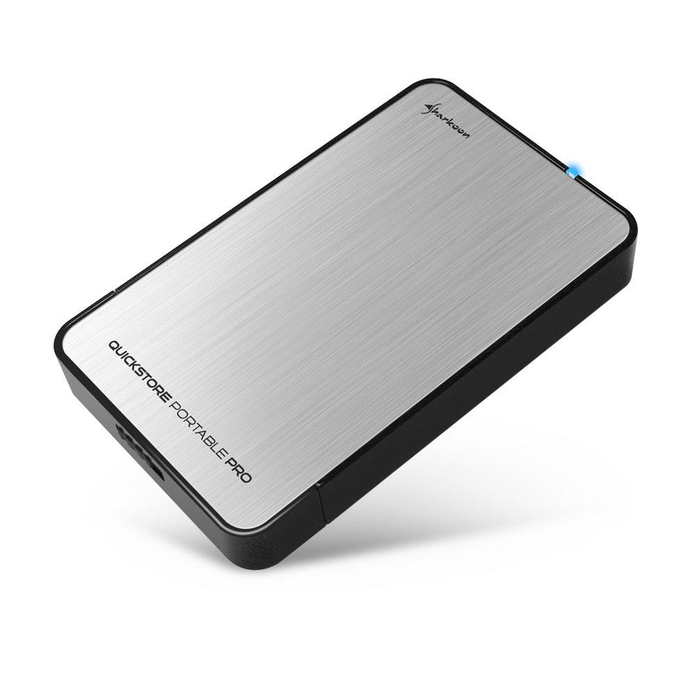 Sharkoon Quickstore Portable - Caja para disco duro SATA de 6,4 cm (2,5 pulgadas, USB 3.0), color plateado  Informática revisión y más información