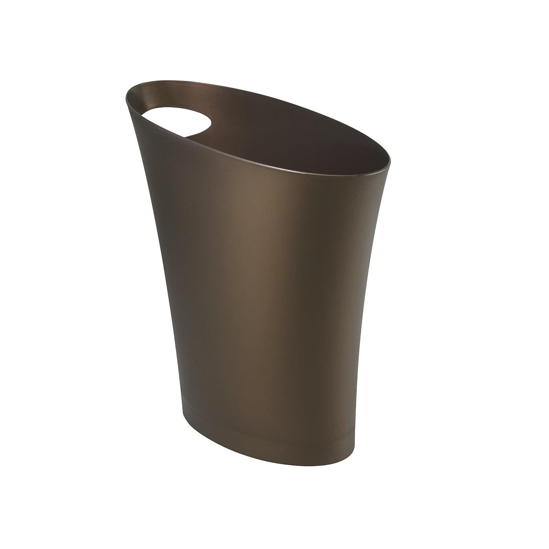 2 gallon slim trash can wastebasket bronze office bedroom for Bathroom wastebasket