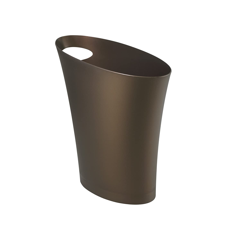 2 gallon slim trash can wastebasket bronze office bedroom for Bedroom garbage can