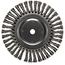 "Weiler Dualife Wire Wheel Brush, Round Hole, Steel, Full Twist Knotted, 8"" Diameter, 0.023"" Wire Diameter, 5/8"" Arbor, 1-5/8"" Bristle Length, 1/2"" Brush Face Width, 6000 rpm"