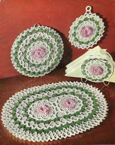 ROSE KITCHEN SET (FV-376) - 4 Vintage 1950 Crochet Patterns for your Kitchen! Pot Holder, Round Hot Plate Mat, Napkin Holder, Platter Mat (Quick Tricks In Crochet, Book No. 267)
