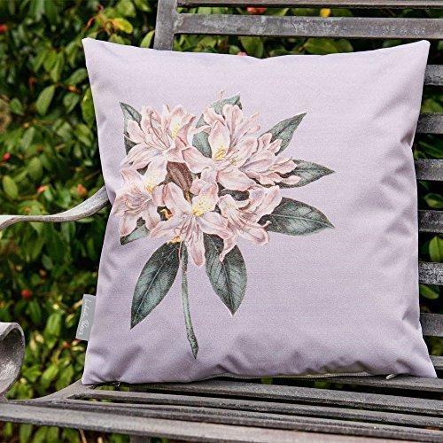 Gartenmöbel Zierkissen mit Rhododendron Motiv - Grau, Set mit 4x Stück, 40 x 40 cm Kissen