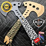 2 PC SURVIVAL TOMAHAWK TACTICAL AXE w SHEATH BATTLE Hatchet Knife HAWK For Hunting Tactical Camping Cosplay + eBOOK by MOON KNIVES