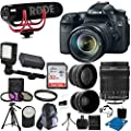 Canon EOS Rebel 70D DSLR CMOS Digital SLR Camera EF-S 18-135mm f/3.5-5.6 IS STM Lens + Rode Video GO Microphone + 2x Professional Lens + HD Wide Angle Lens + UV Kit + 32GB Deluxe Accessory Bundle