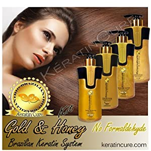 Keratin Brazilian Treatment Complete Bio-Brazilian 10.14 oz Kit Gold & Honey 300 ML Keratin Cure