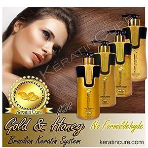 Keratin Brazilian Treatment Complete Bio-Brazilian 10.14 oz Kit Gold & Honey 300 ML Keratin Cure