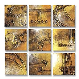 Neron Art - Handpainted Abstract Oil Painting on Gallery Wrapped Canvas Group of 9 pieces - Lunen 36X36 inch (91X91 cm)