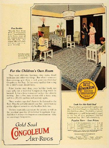 1924 Ad Congoleum Gold Seal Art Rug Home Decor Flooring - Original Print Ad