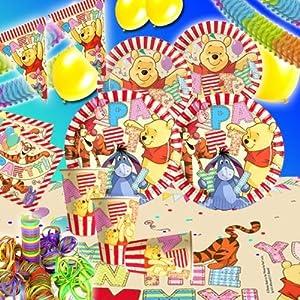 Winnie Puuh Kindergeburtstag Zubehörset für bis zu 8 Kinder, 64 teiliges WinniePuuh Partyset,Winnie Pooh DekoSet zum Geburtstag von Kleinkindern