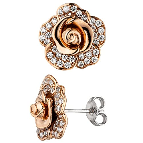 Jobo Stud Earrings Flower/Rose 925 Sterling Silver Rose Gold Plating 78 Cubic Zirconia Earrings