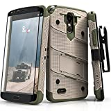 Zizo Bolt Series Compatible with LG Stylo 3 Case Military Grade Drop Tested with Tempered Glass Screen Protector, Holster, Kickstand TAN CAMO Green (Color: Desert Tan/Camo Green)