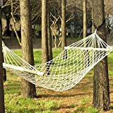 New Outdoor Camping Goods Wood Pole Cotton Rope Netted Shape Hammock Bed White