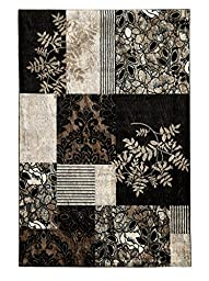 Linon Elegance 2\' x 3\' Marble Pattern Rug in Black