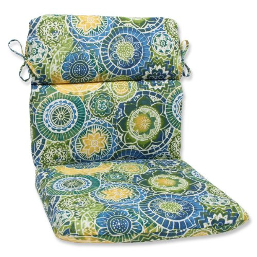 "40.5"" Laguna Mosaico Blue, Green and Yellow Outdoor Patio Rounded Chair Cushion"
