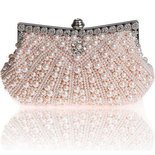 KAXIDY Borsa Pochette Borsa Sacchetto Cerimonia Perline Perle Donne Eleganti Pochette Sera Spalla (Champagne)